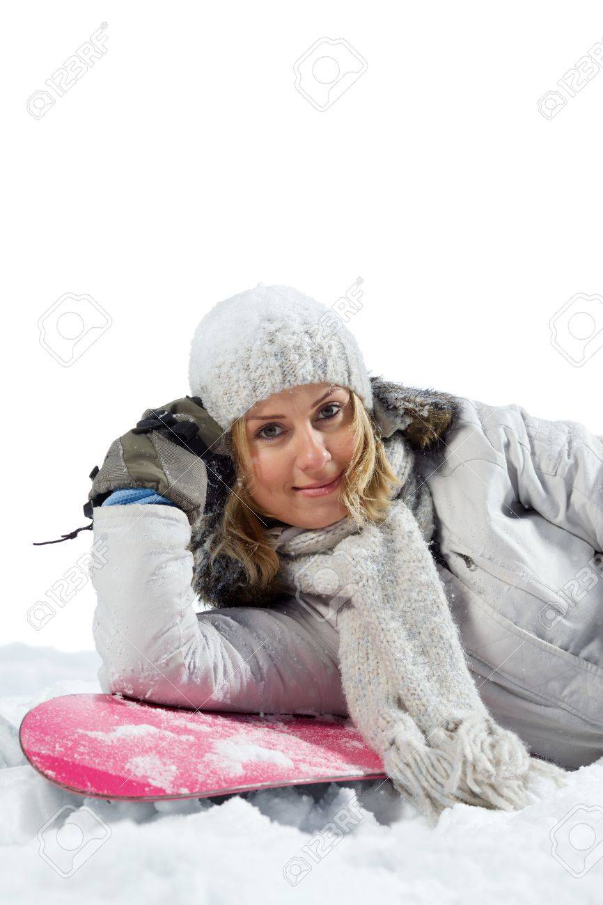 0753b1f002 Portrait smiling young woman lying on snowboard. Isolated on white. Stock  Photo - 11477110