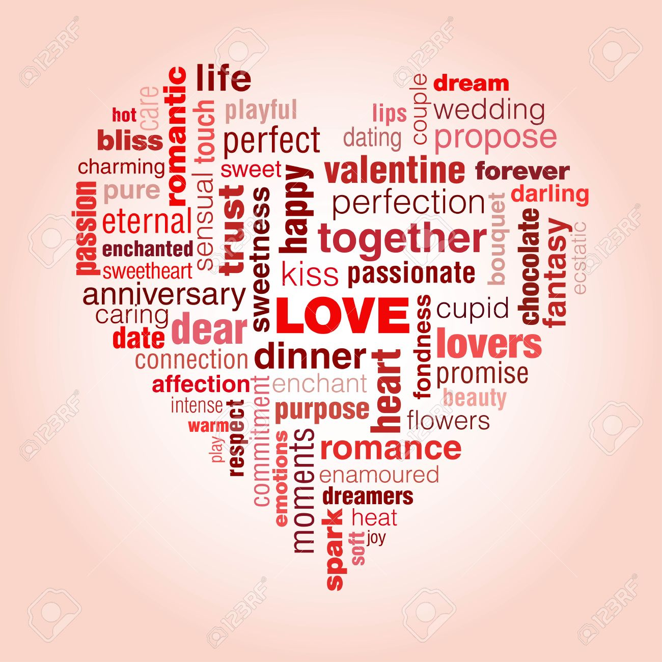 A typographic illustration of Valentine's day and generally love. A concept with words that symbolise love shaped into a heart.The predominant colour is red and pink, colours of passion.Illustration is on a pink background Stock Vector - 20722849