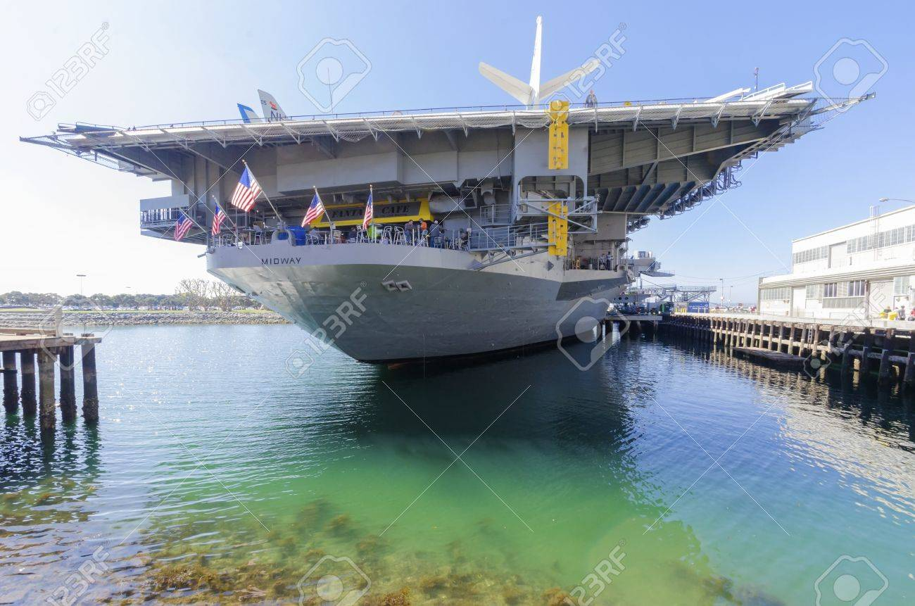 The Historic Aircraft Carrier USS Midway Museum Moored In - World war ii museums in usa