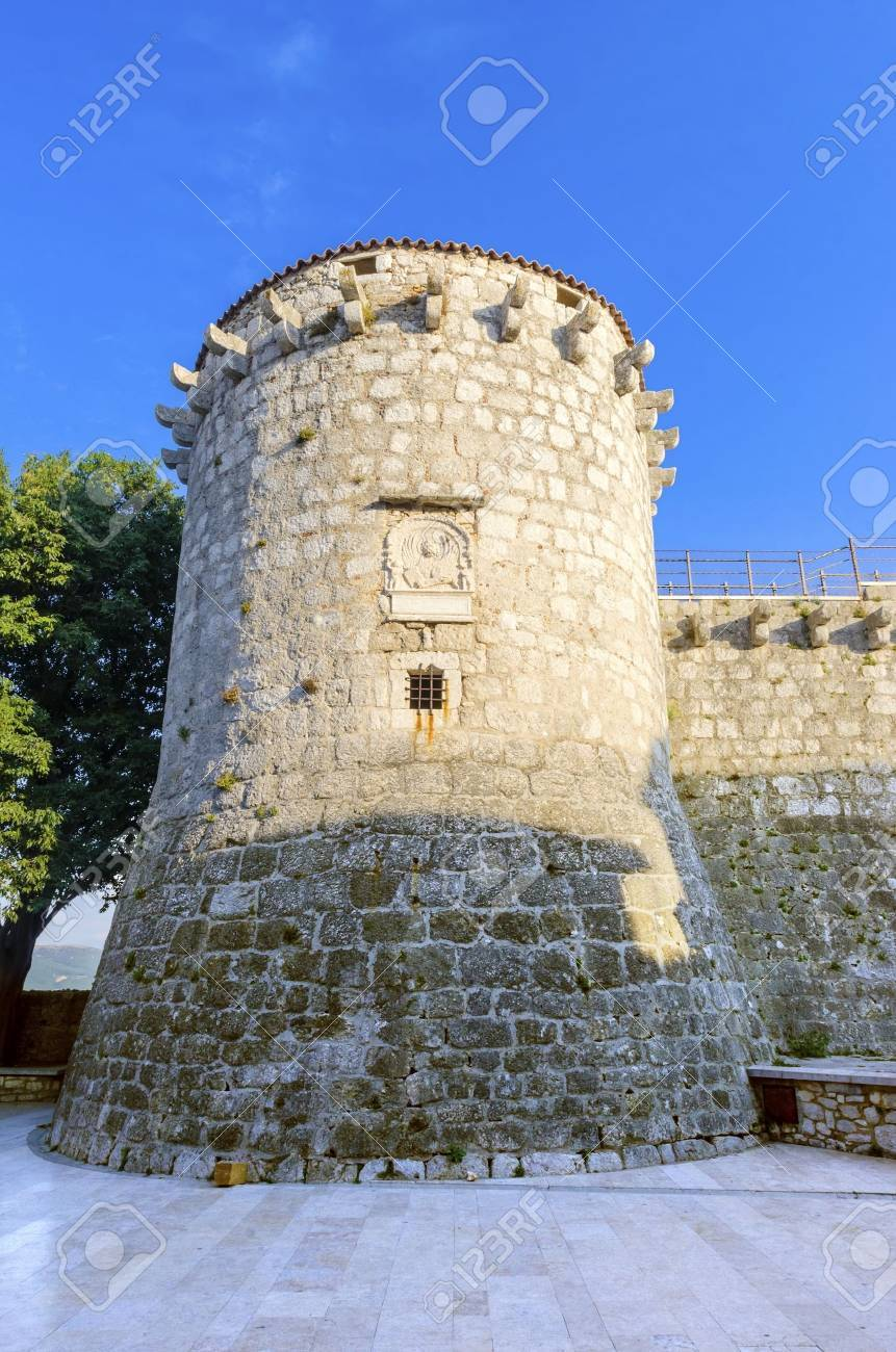 The Round Venetian Tower Of Frankopan Castle At Kamplin Square In
