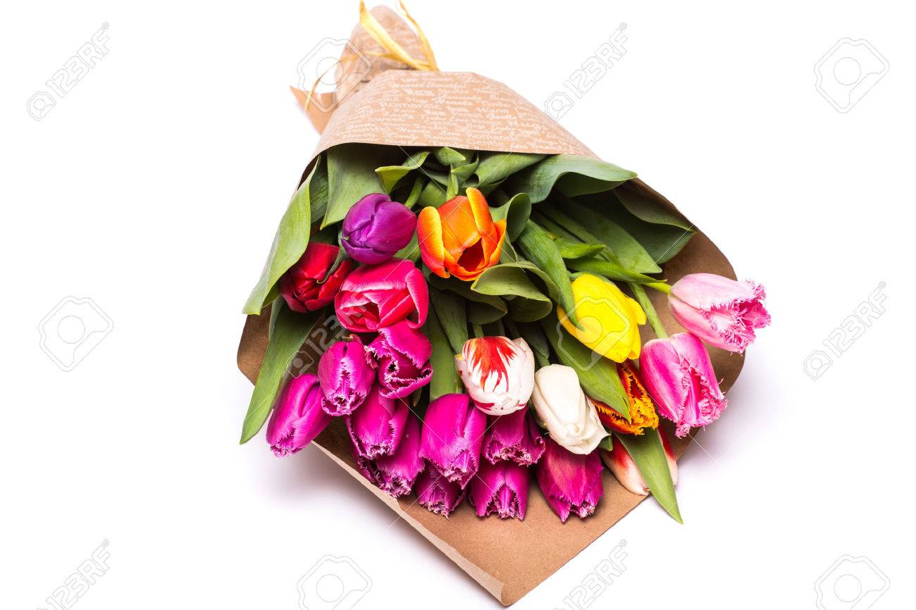 Bouquet of spring tulips flowers wrapped in paper isolated on bouquet of spring tulips flowers wrapped in paper isolated on white background stock photo 55587300 mightylinksfo