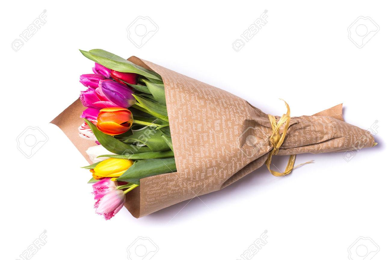 Bouquet of spring tulips flowers wrapped in paper isolated on bouquet of spring tulips flowers wrapped in paper isolated on white background stock photo 55587304 mightylinksfo