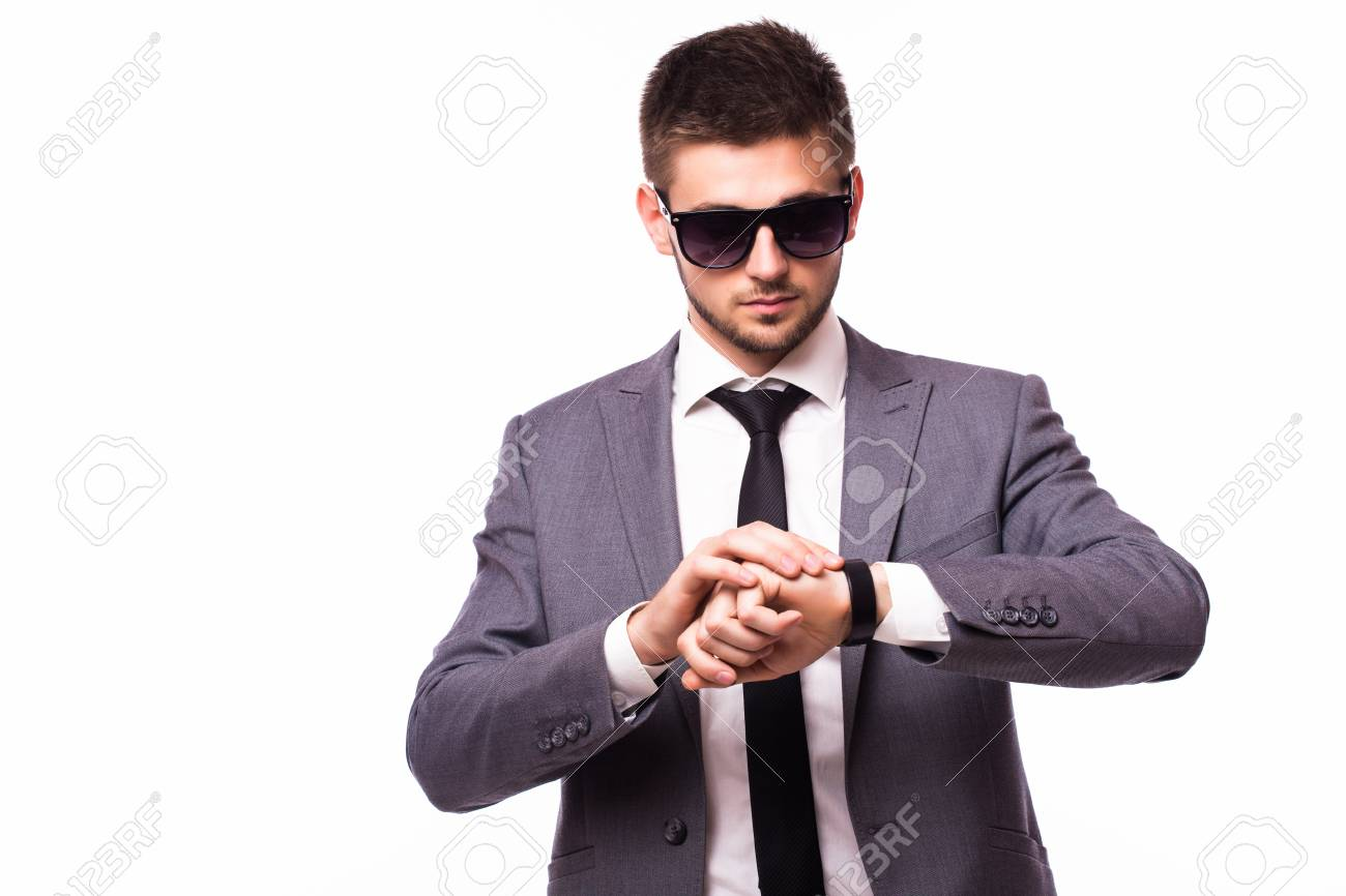 young businessman look at clock on time stock photo picture and