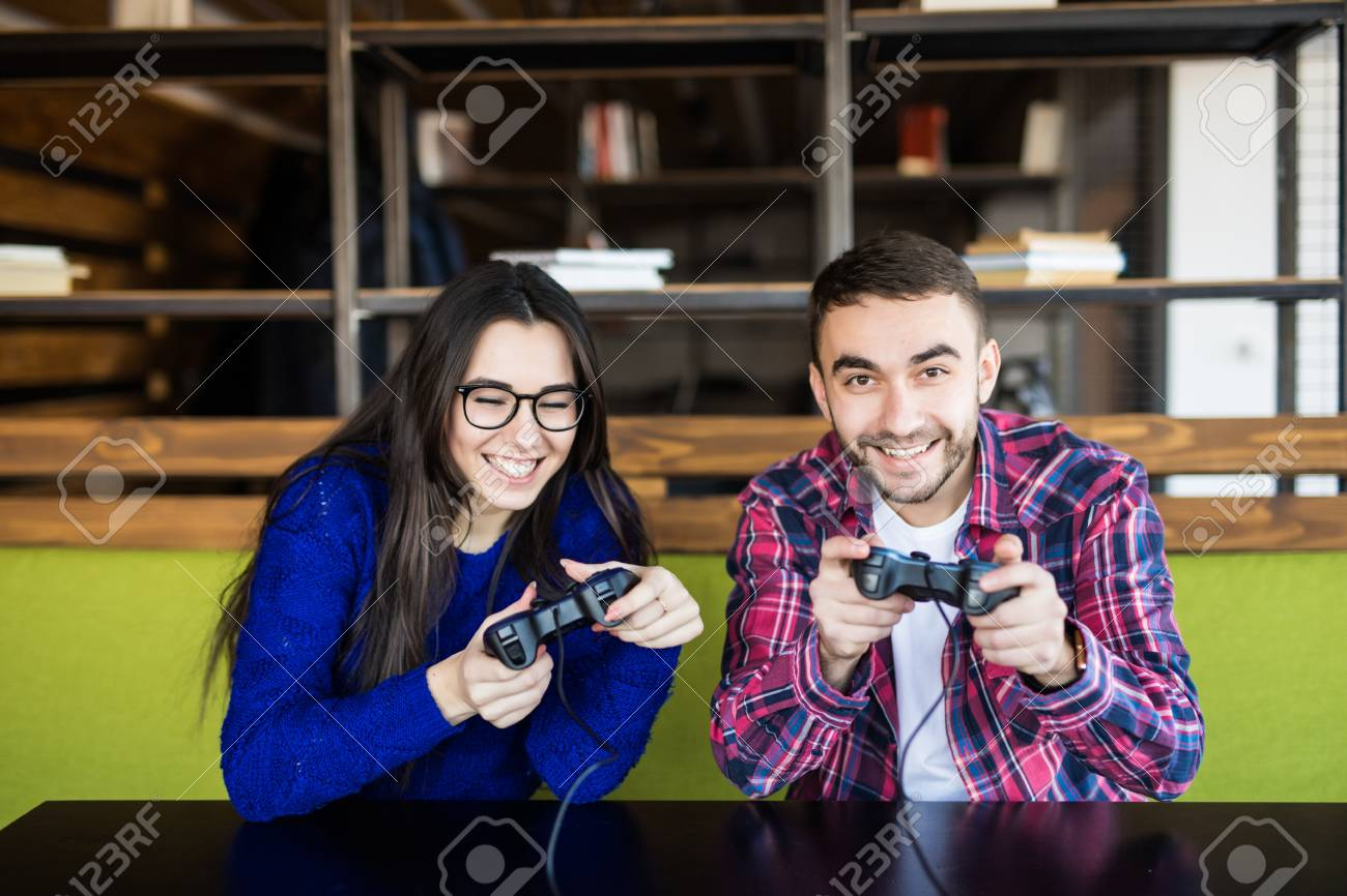 Cute Couple Playing Video Games Stock Photo Picture And Royalty Free Image Image 71343743