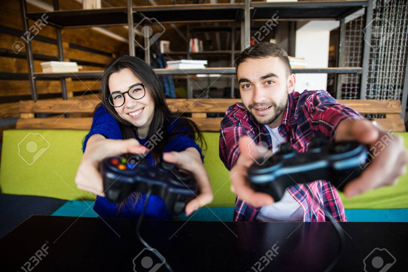 Cute Couple Playing Video Games Stock Photo Picture And Royalty Free Image Image 71349328