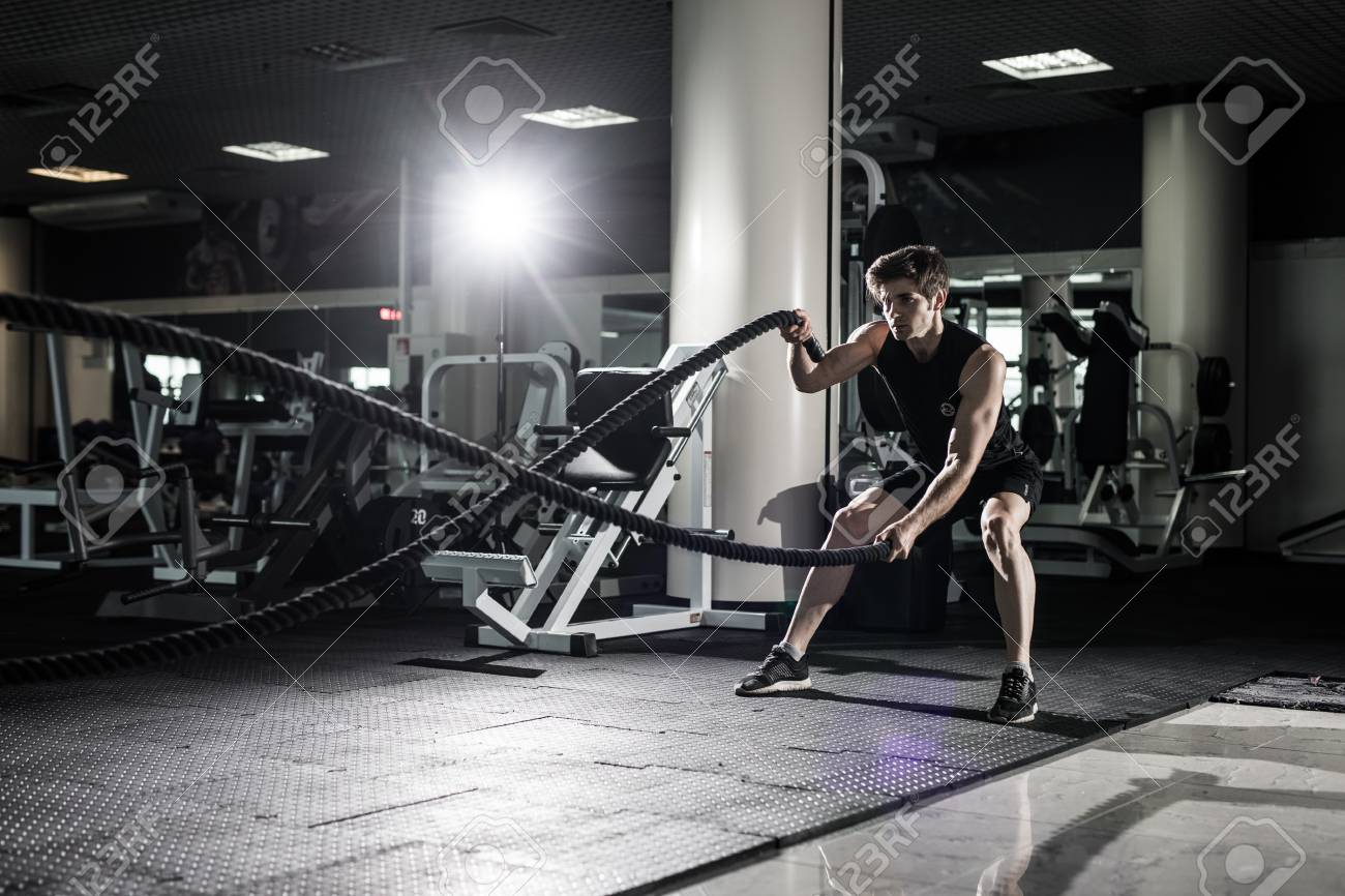 crossfit battling ropes at gym workout exercise stock photo, picturecrossfit battling ropes at gym workout exercise stock photo 83570001