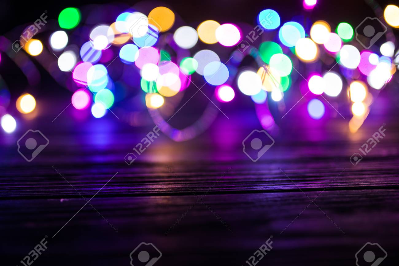 Beautiful background on dark out of focus lights during the night light stock photo