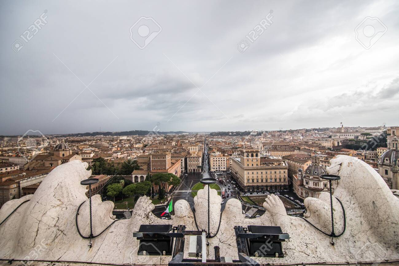 Rome Italy November 2018 View From The Terrazza Delle Quadrighe