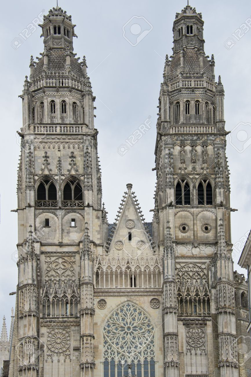 The Towers And Facade Of Flamboyant Gothic Cathedral Saint Gatien In Tours