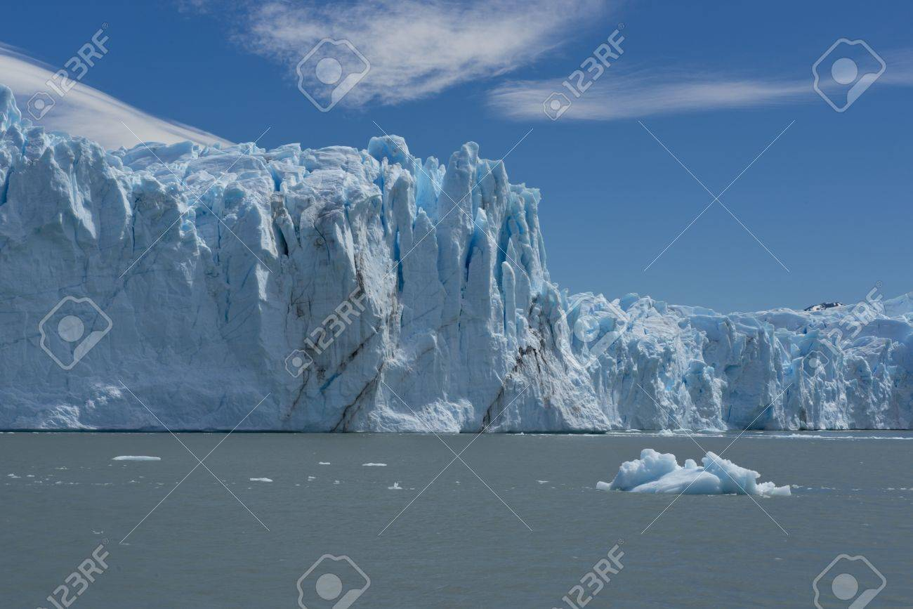 View of one of the fronts of the glacier Perito Moreno in the Los Glaciares National Park of  Patagonia, facing on the Lake Argentino Stock Photo - 17476682