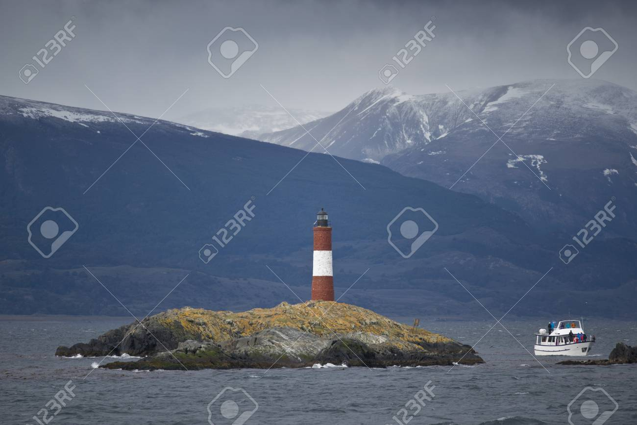 Lighthouse Les Eclaireurs on an islet in the Beagle Channel, near Ushuaia in the Tierra del Fuego - 17710550