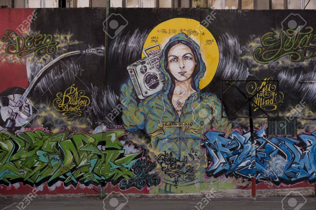 mural painting representing the Madonna with a stereo in the barrio San Telmo, in the centre of Buenos Aires - 17809040