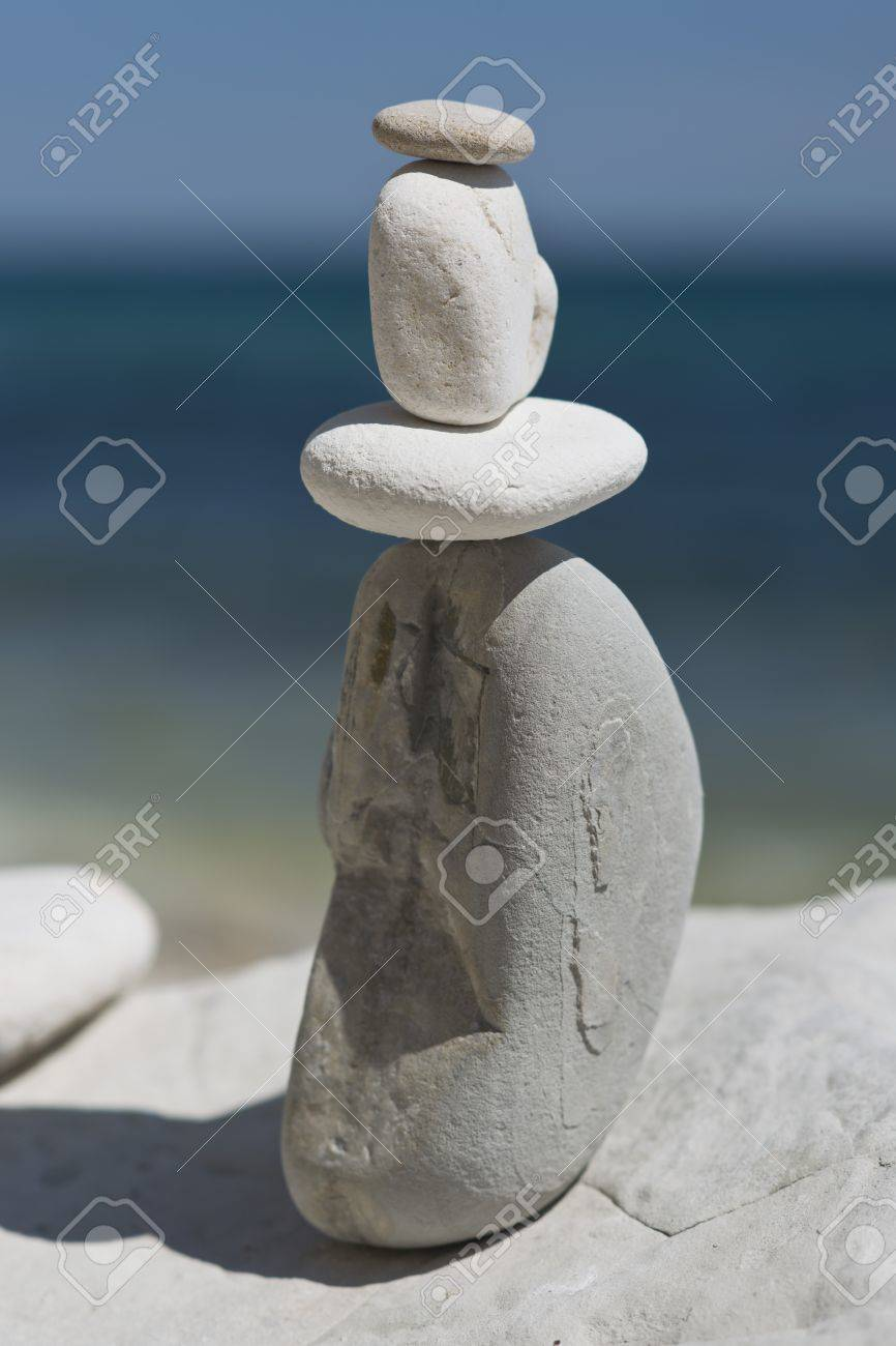 Stack of stones on a beach - 20746687