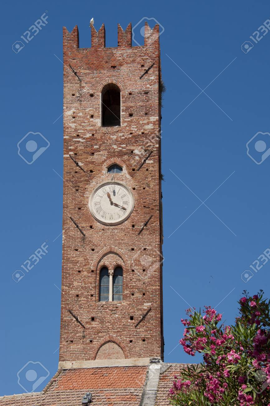 Medieval tower in the centre of the village of Noli in the ligurian riviera - 20747375