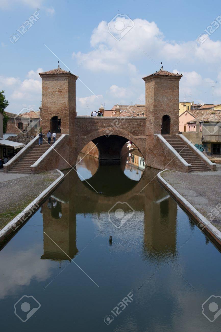 The Famous Bridge Symbol Of The City Of Comacchio In The Delta