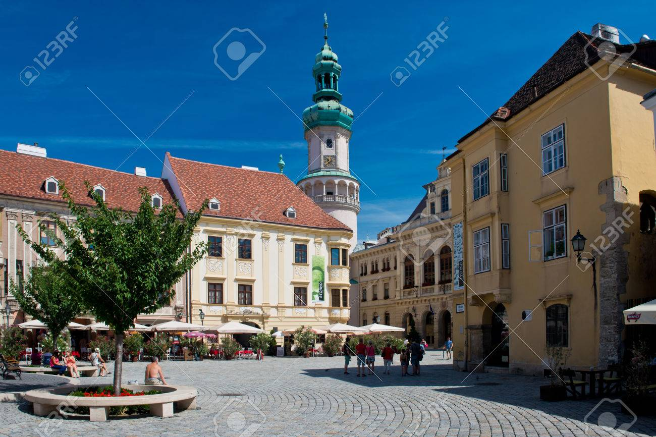 The Main square in the old town of Sopron, important town in the western Transdanubia of Hungary. - 31982008