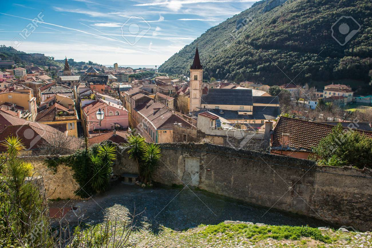 View over the Village of Finalborgo, Italy - 75374449