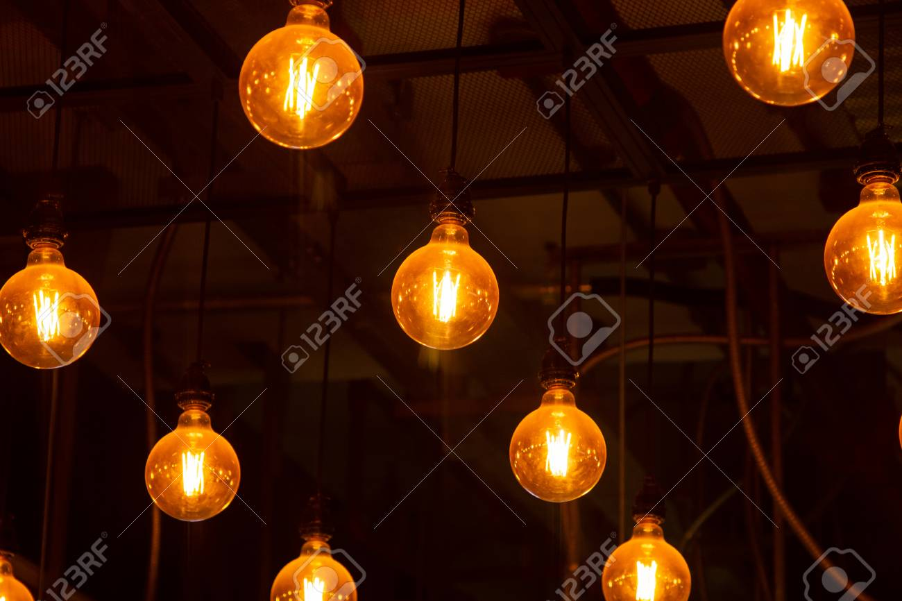 Vintage Ceiling Light Bulb Hanging Yellow Color Circle Shape Stock Photo Picture And Royalty Free Image Image 114925775