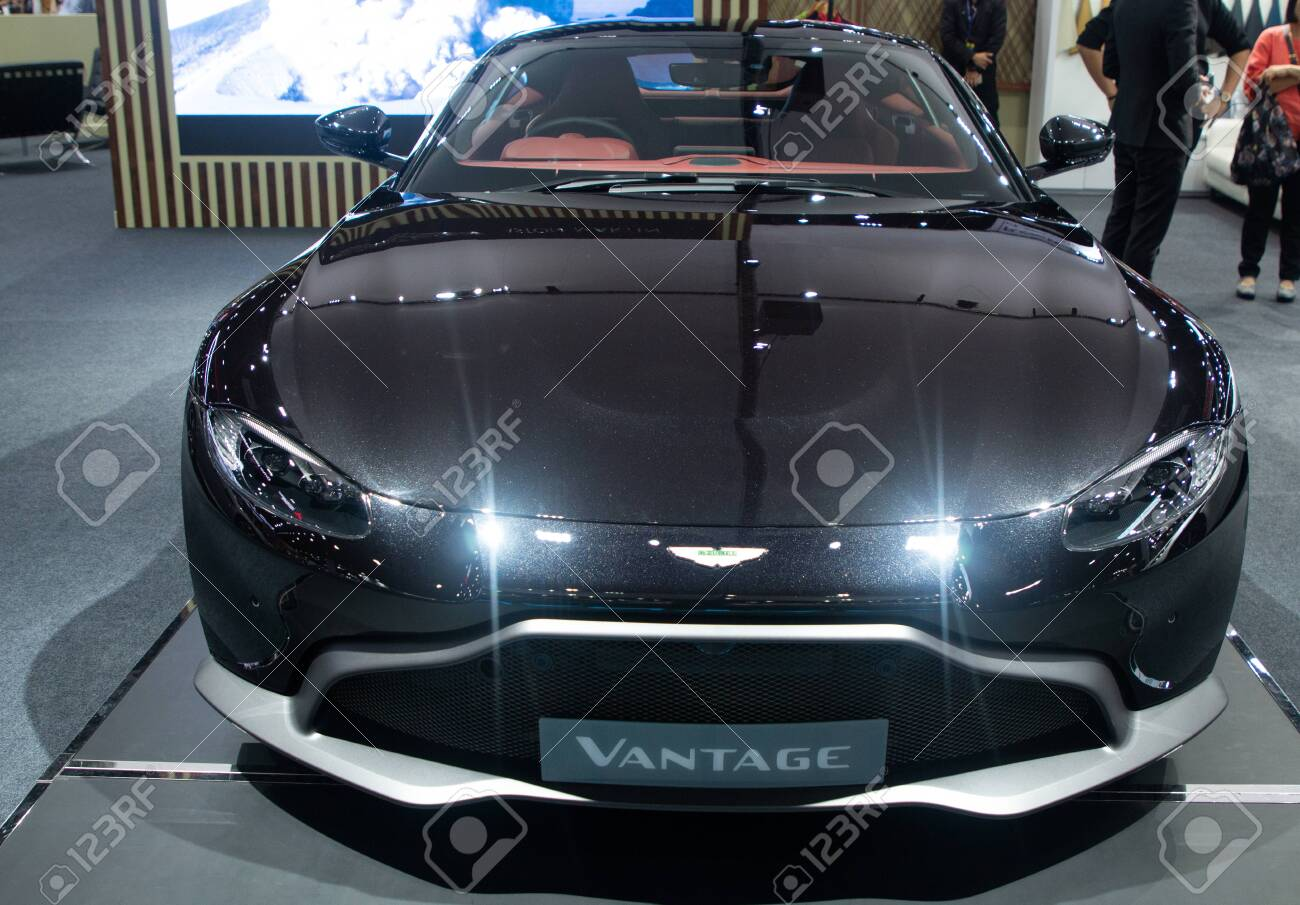 Thailand Dec 2018 Close Up Front View Headlights Of Aston Stock Photo Picture And Royalty Free Image Image 128137294