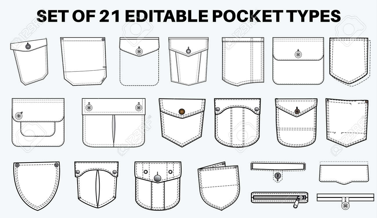 Patch pocket flat sketch vector illustration set, different types of Clothing Pockets for jeans pocket, denim, sleeve arm, cargo pants, dresses, garments, Clothing and Accessories - 168428719