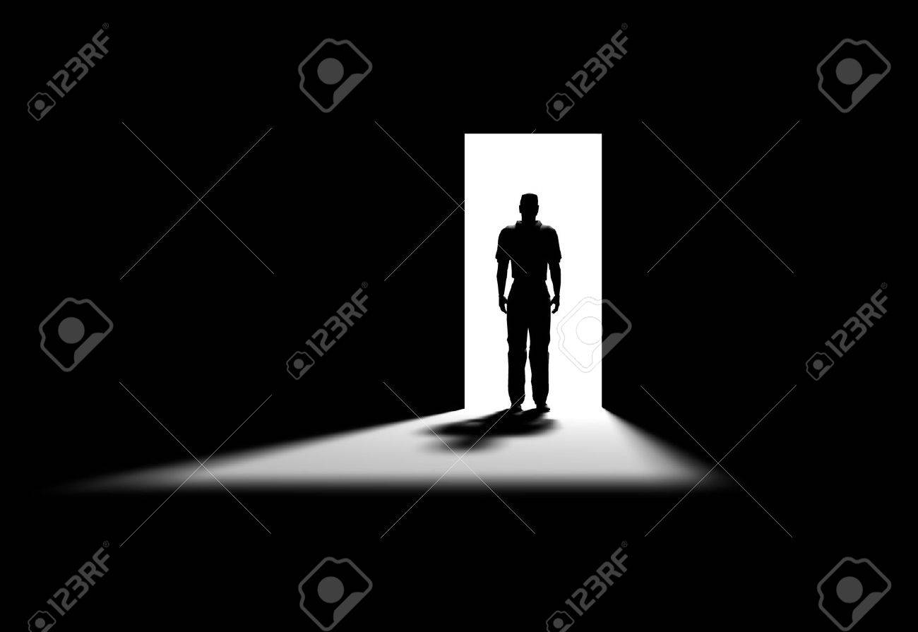 Inside a room with man on the opened door Stock Photo - 671401