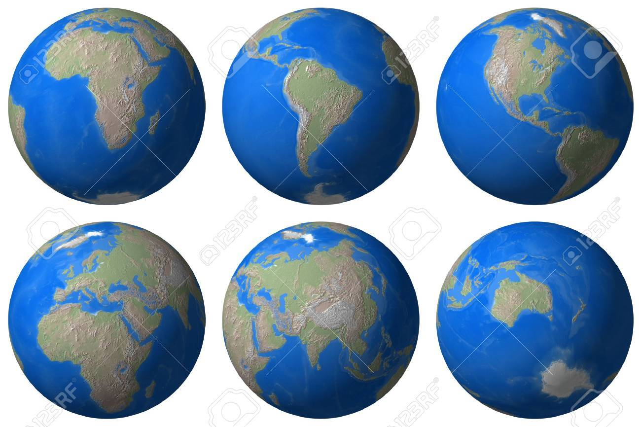 World Globe - Earth different view - isolated Stock Photo - 727066