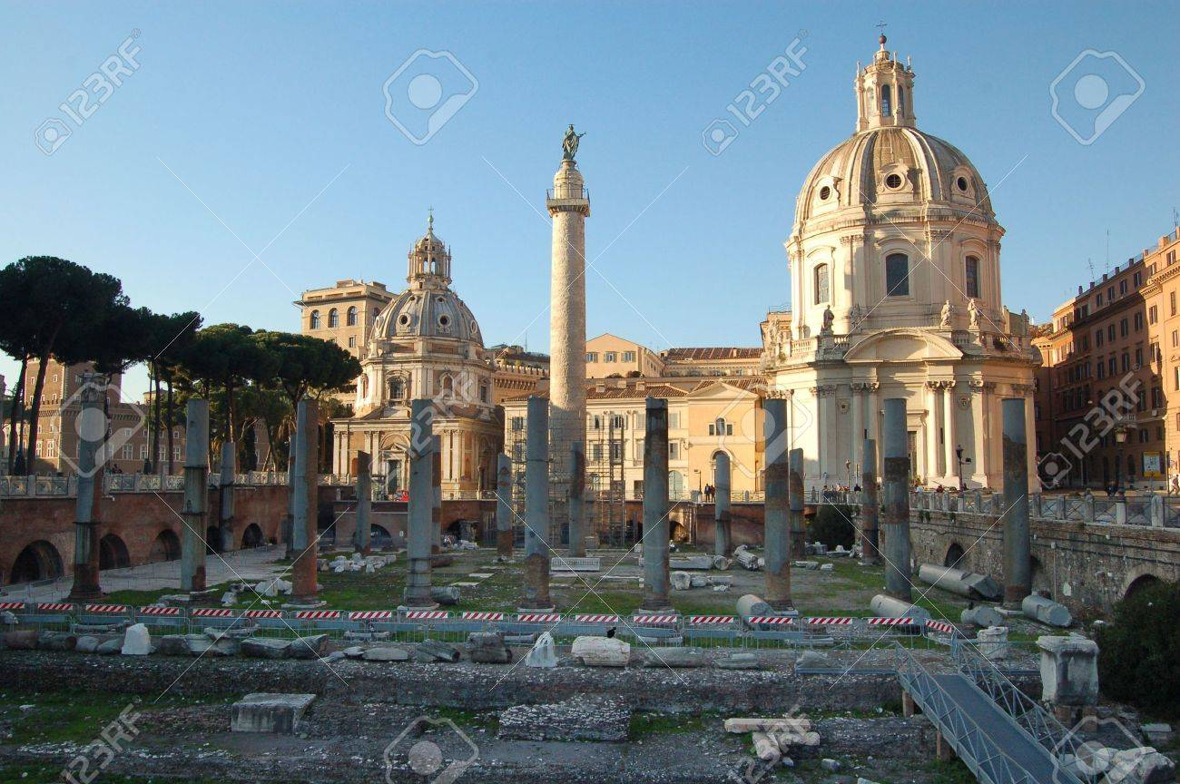 Trajan's Forum - Trajan's column - Venice square - Rome Italy Stock Photo - 2403482