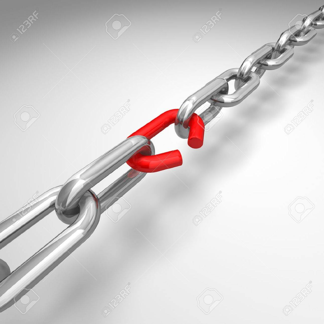 3d illustration of a broken silver chain - conceptual image Stock Illustration - 7476397