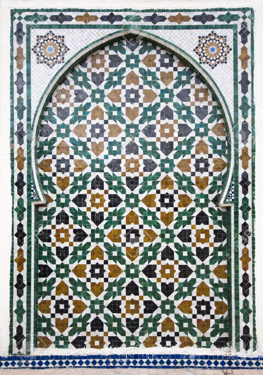 Moroccan Style moroccan style ceramic mosaic - best of marocco stock photo