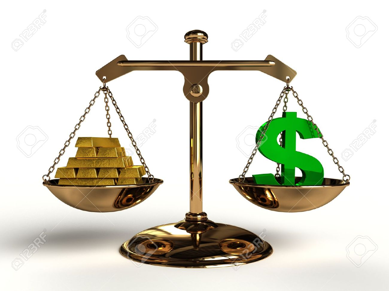 The Value Of Money On A Golden Balance Are Compared In A Green