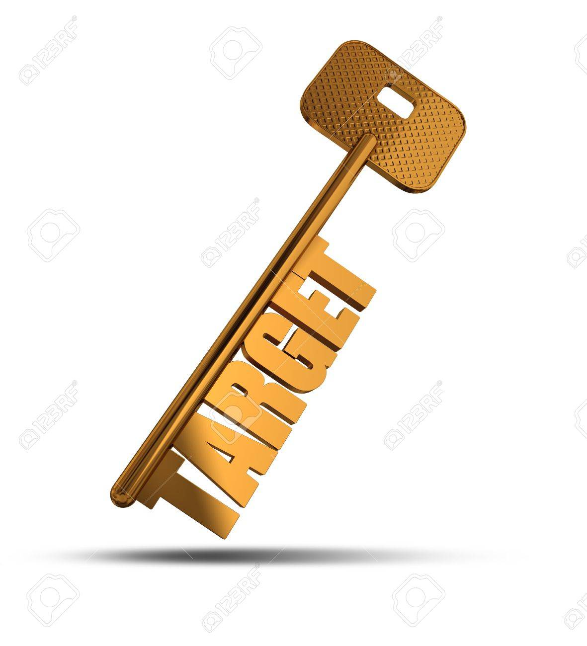 Target gold key isolated on white  background - Gold key with Target text as symbol for success in marketing - Conceptual image Stock Photo - 12606427