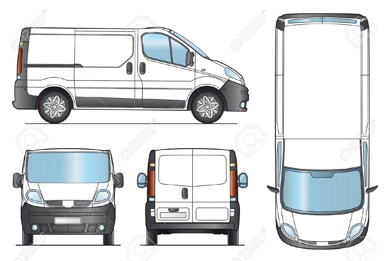 Furgone bianco template di consegna van layout per la presentazione vector eps