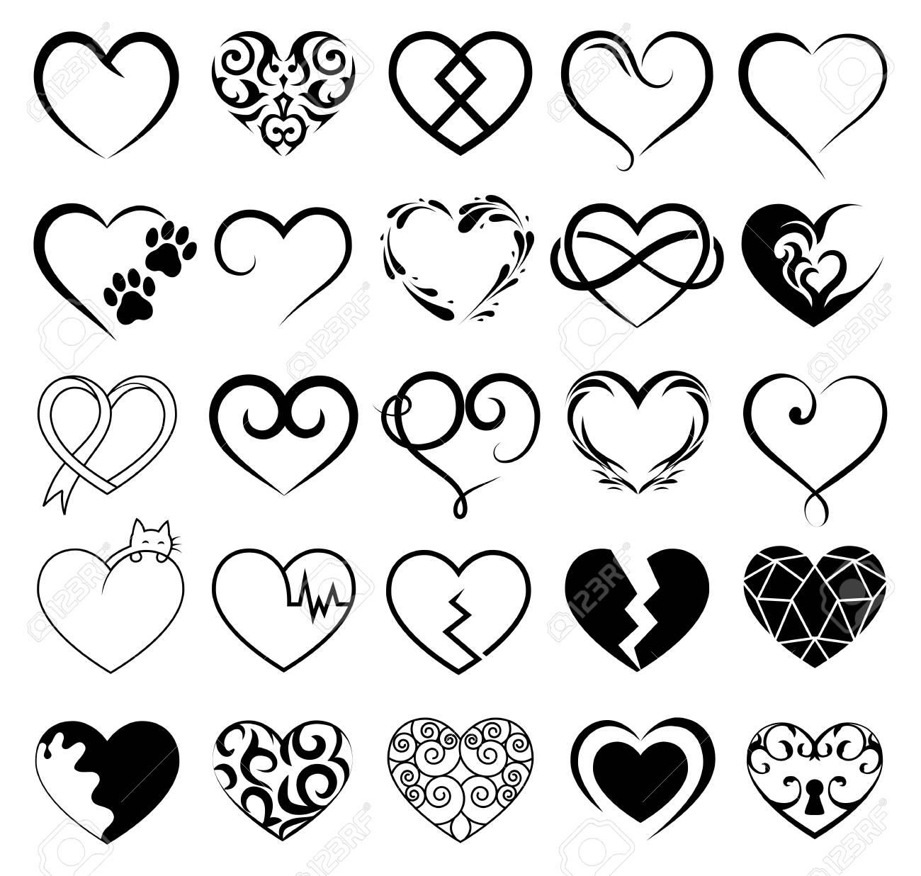 Conjunto De 25 Tatuajes Corazones Imagen Vector Símbolo
