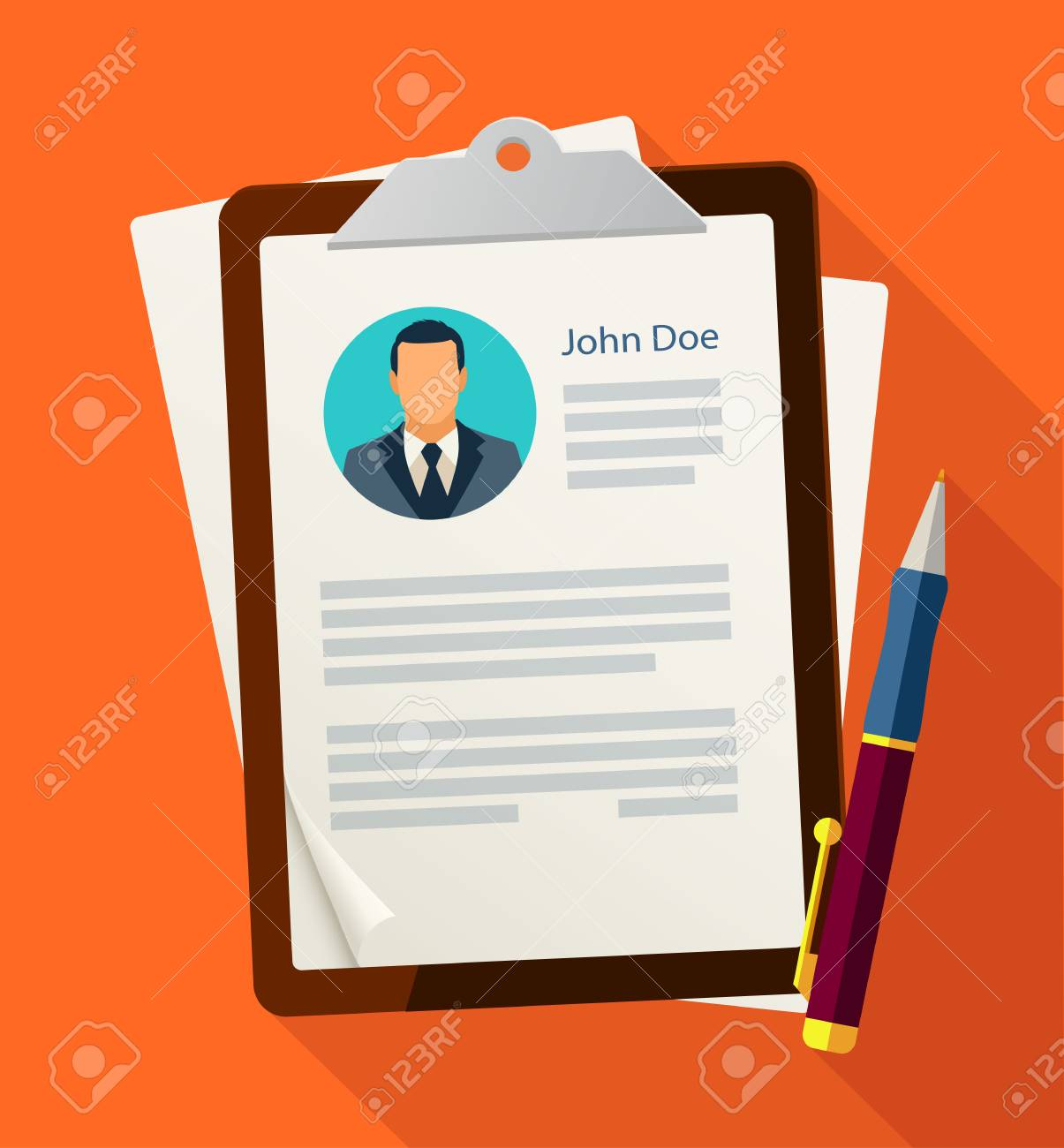 Concept With Business Cv Resume Vector Illustration Flat Style