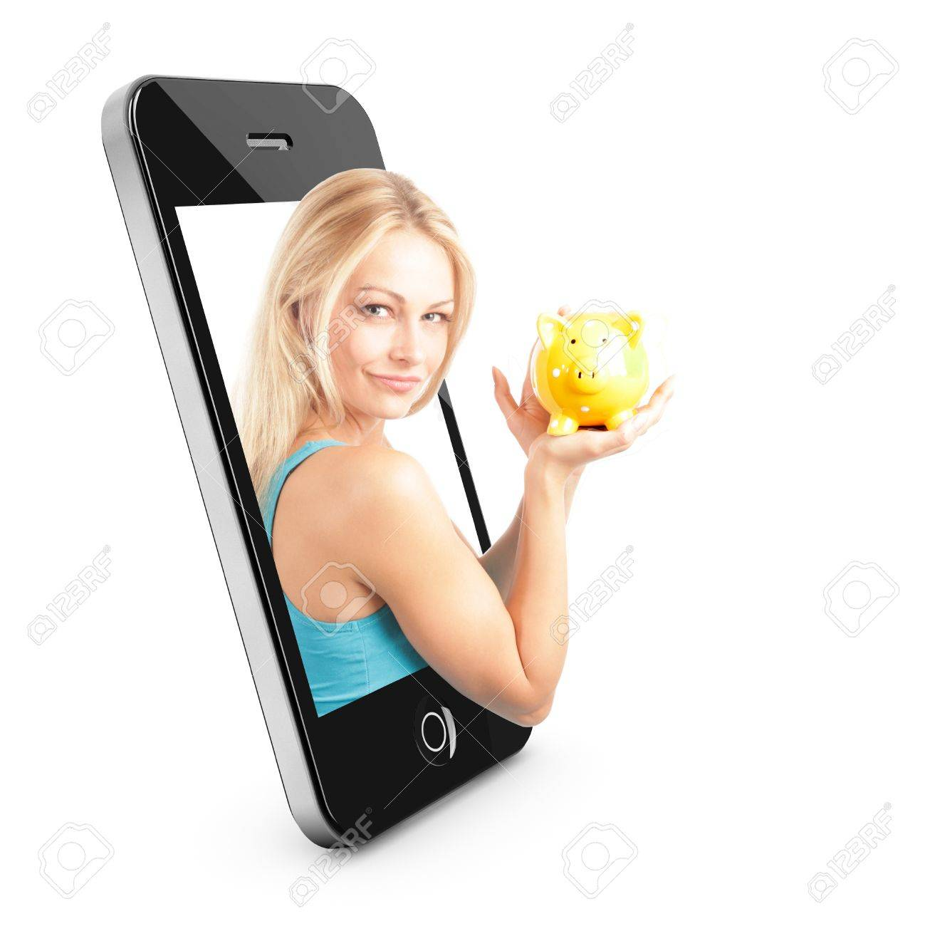 Smart phone Concept with beautiful blonde woman reaching out of the phone interface with piggy bank Stock Photo - 11602956