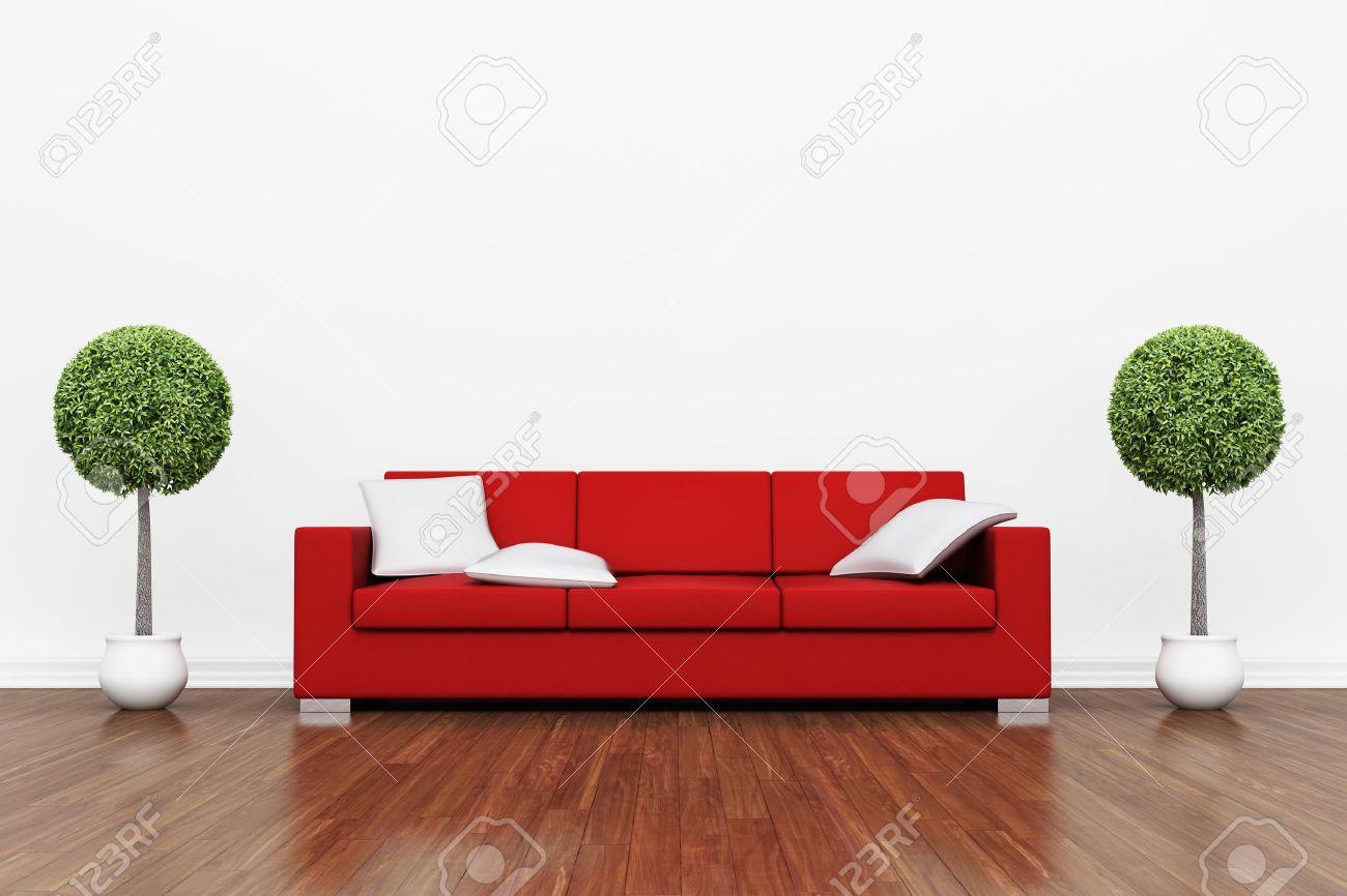 Rote Couch Auf Holzboden Mit Weißen Polstern Lizenzfreie Fotos