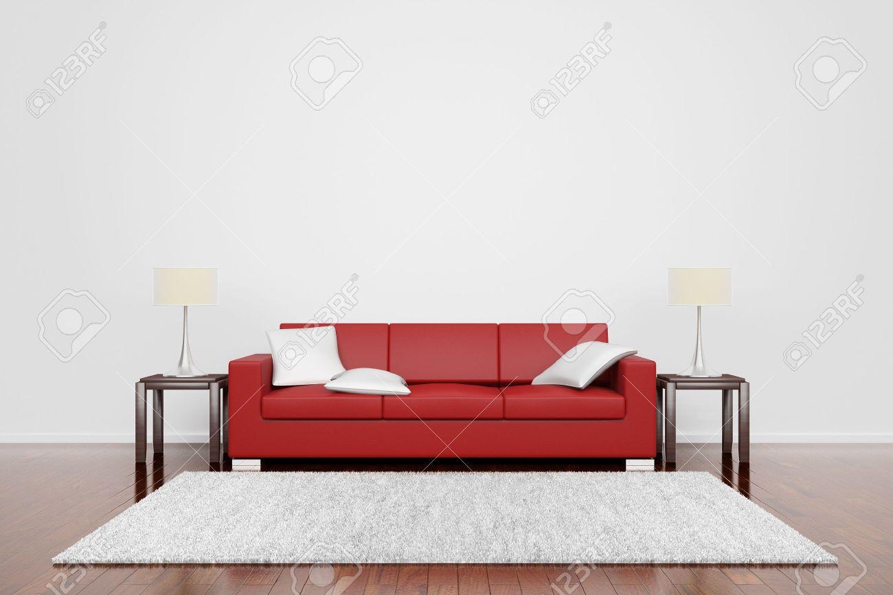 Röd soffa på trägolv med vita kuddar matta och lampor royalty fria ...