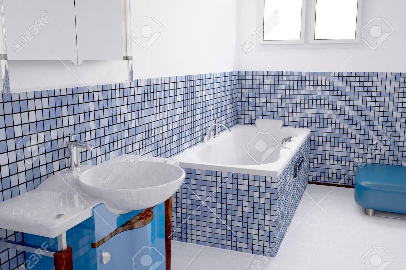 Badrum med blå kakel och en bassäng royalty fria stockfoton ...