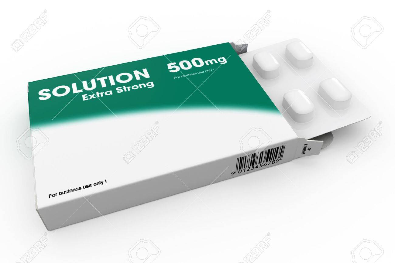 Open medicine packet labelled Solution opened at one end to display a blister pack of white tablets, illustration on white Stock Illustration - 13434098