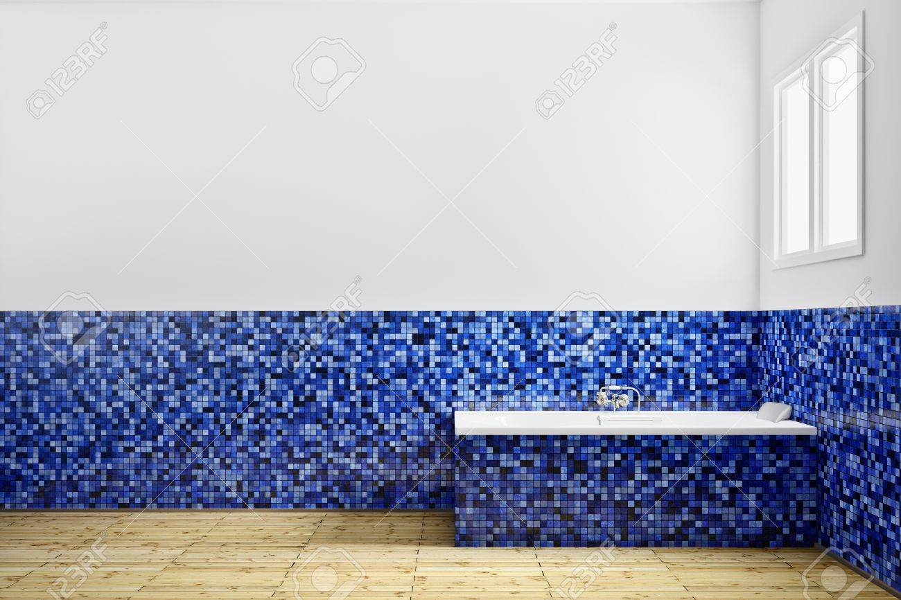 Empty Bathroom With Blue Tiles From Side Stock Photo, Picture And ...