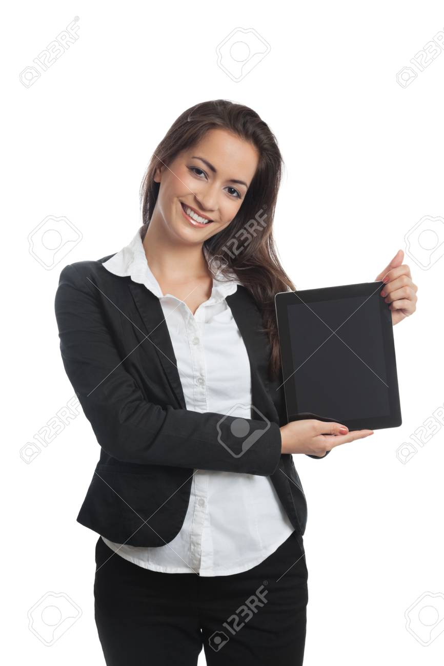 Asian Businesswoman with tablet pc on white background Stock Photo - 14676782