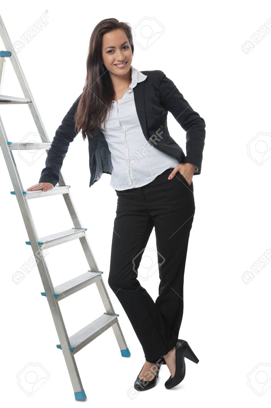 Asian Businesswoman presenting metal ladder isolated on white Stock Photo - 14676779