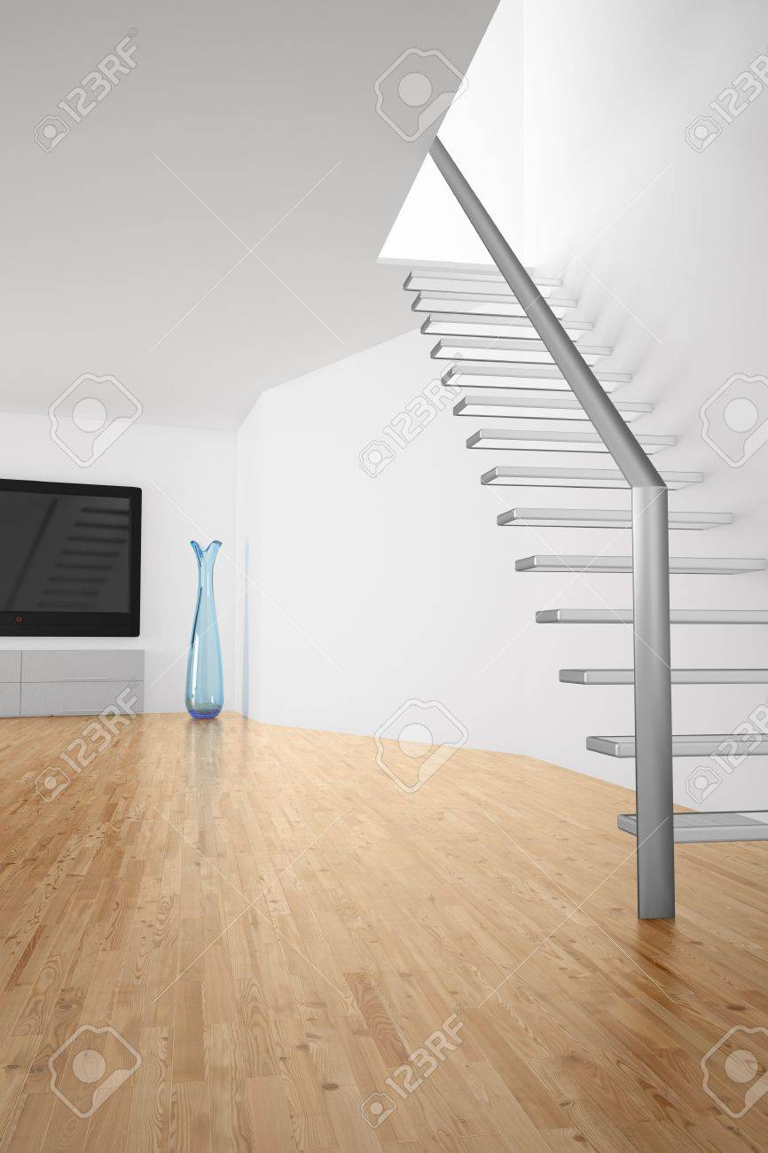 Room with stairs and TV with white walls Stock Photo - 15811328