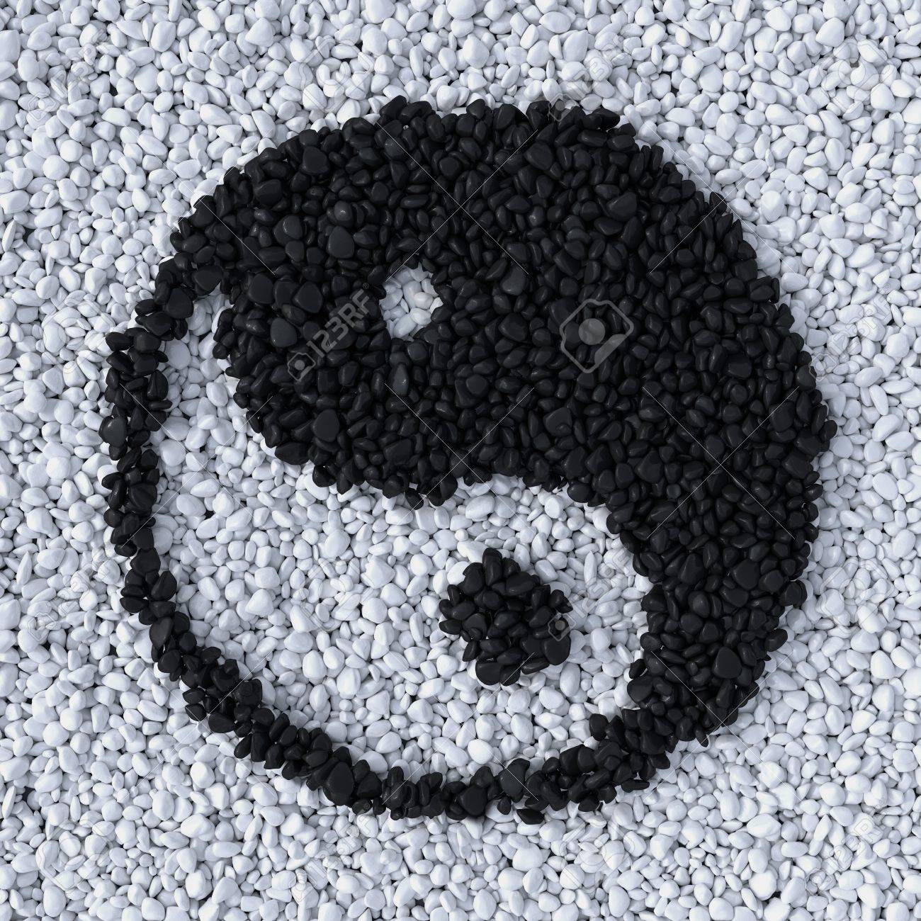 Yinyang Symbol Made Of Gravel Stones Top View Stock Photo Picture