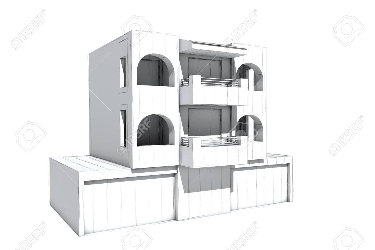 Architectural visualization of a house ground view Stock Photo - 18415772