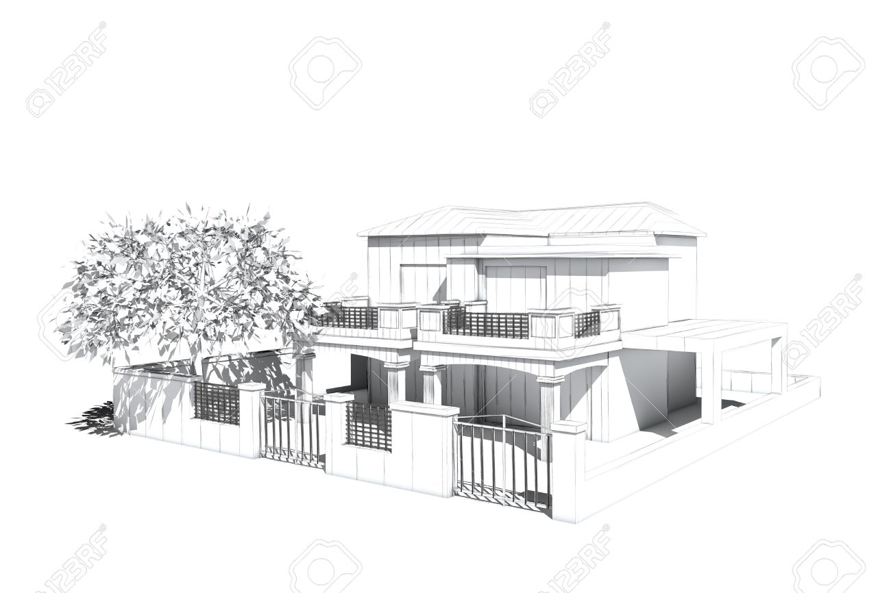 Architectural visualization of a villa with garden and tree Stock Photo - 18415779