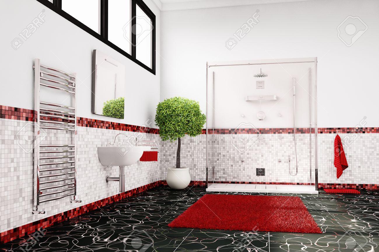 Fesselnd Badezimmer In Rot, Weiß Und Schwarz Wie Farbkonzept Standard Bild   18918273