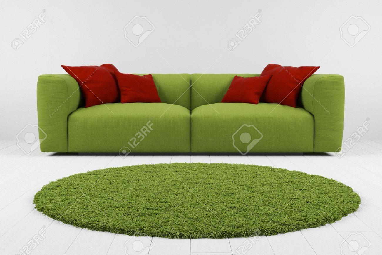 Grunes Sofa Mit Teppich In Grau Raum Closeup Lizenzfreie Fotos