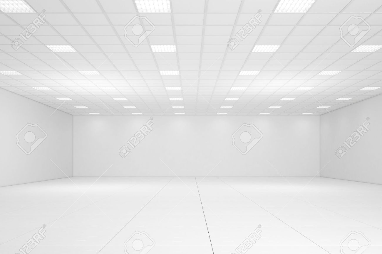 Empty White Room With Neon Lights And White Walls Stock Photo