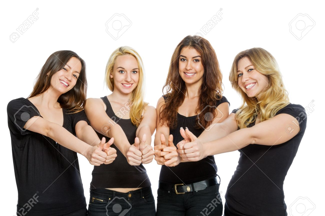 Group Of Girls With Thumbs Up Isolated On White Stock Photo 20467594